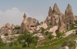 Ortahisar caves in Cappadocia royalty free stock photo