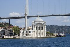 Ortaköy Mosque has one of the most picturesque settings of all of the Istanbul mosques stock photography