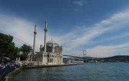 Ortakoey Mosque at the Bosporus Bridge in Istanbul Turkey Stock Photo