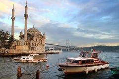 Ortakoy. Evening at Ortakoy with historical Mecidiye Mosque. Bosporus, Istanbul Stock Photography