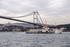 Ortakoy, Istanbul. Istanbul, Turkey - January 6, 2016: View of the famous Ortakoy Square, Mecidiye Mosque and the Bosphorus Bridge in winter time from Ortakoy Royalty Free Stock Photography
