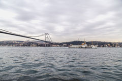 Ortakoy, Istanbul. Istanbul, Turkey - January 6, 2016: View of the famous Ortakoy Square, Mecidiye Mosque and the Bosphorus Bridge in winter time from Ortakoy Royalty Free Stock Photos