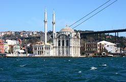 Ortakoy mosque. The Ortakoy mosque, viewed from the Bosphorus river stock photography