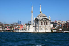 Ortakoy mosque. The Ortakoy mosque, viewed from the Bosphorus river Royalty Free Stock Photography