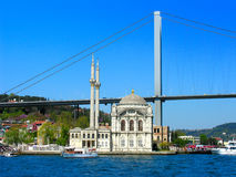 Ortakoy Mosque. View of the Ortakoy Mosque situated on the waterside of the Bosphorus, Istanbul, Turkey Royalty Free Stock Photo