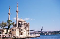Ortakoy Mosque. Under bosphorus bridge in istanbul turkiye. Bosphorus bridge between asia and europe stock photography