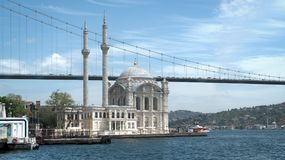 Ortakoy mosque and Bosphorus Bridge connecting Europe and Asia continents, Istanbul, Turkey. Istanbul, Turkey - May 2017: Ortakoy mosque and Bosphorus Bridge Stock Images