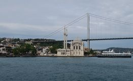 Ortakoy Mosque with Bosphorus Bridge - Connection between Europe and Asia in Istanbul, Turkey. Ortakoy Mosque at the European Side of Istanbul, with the Stock Image