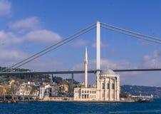 Ortakoy Mosque and Bosphorus Bridge Stock Photo