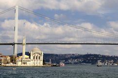 Ortakoy mosque and bosphorus bridge in istanbul Stock Image