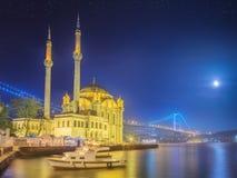 Ortakoy mosque and Bosphorus Bridge Istanbul Stock Photography