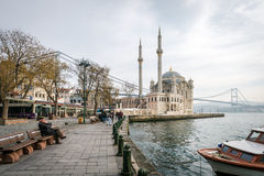 Ortakoy mosque and Bosphorus bridge in Istanbul, Turkey Stock Photos