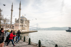 Ortakoy mosque and Bosphorus bridge in Istanbul, Turkey Stock Photography