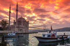 Ortakoy Mosque and Bosphorus Bridge Royalty Free Stock Images