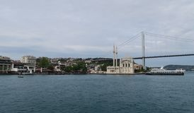 Ortakoy Mosque, Bosphorus Bridge and Strait with Ships, as seen from the European Side of Istanbul, in Turkey Stock Photos