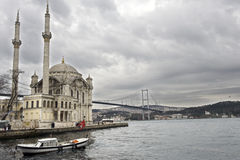 Ortakoy mosque and bosporus bridge Stock Photography