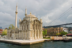 Ortakoy mosque and Bosporus bridge, Istanbul, Turkey Royalty Free Stock Photos