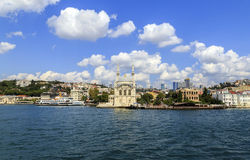 Ortakoy mosque on European side,Istanbul, Turkey. Royalty Free Stock Images