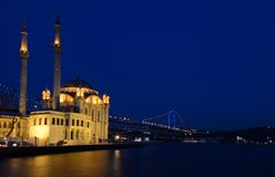 Ortakoy Mosque-Istanbul. New-Baroque style mosque built in 1856 at the time of Ottoman Empire Stock Photography