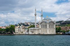 Ortakoy Mosque in Istanbul. Ortaköy Mosque Grand Imperial Mosque of Sultan Abdulmecid in Istanbul, Turkey, is situated at the waterside of the Ortakoy pier Royalty Free Stock Image