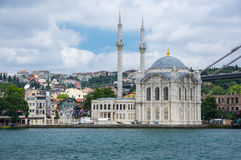 Ortakoy Mosque in Istanbul. ISTANBUL, TURKEY - JUNE 25, 2015: Ortaköy Mosque Grand Imperial Mosque of Sultan Abdulmecid in Istanbul, Turkey, is situated at the Royalty Free Stock Images