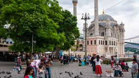 Ortakoy Mosque in Istanbul stock video footage