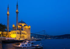 Ortakoy Mosque in night Royalty Free Stock Images