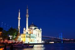 Ortakoy in night royalty free stock images