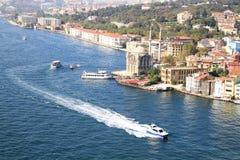 Ortakoy seascape. Sea taxi at Ortakoy coast in Istanbul Royalty Free Stock Photography