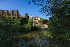 Рокируйте Ortenburg и руины церков St Nikolai, Баутцен, Саксонию, Германию Стоковое фото RF