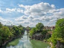 Orthez stary most w Pyrenees zdjęcia royalty free