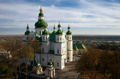 Orthodo Christianity cathedral. Protestant Christianity cathedral with green cupola under blue sky Royalty Free Stock Images