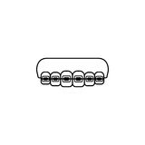 Orthodontic braces line icon Royalty Free Stock Photography
