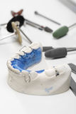 Orthodontic trainer, the chance of a beautiful smile. Hands prosthetics, orthodontics while working on orthodontic appliance Stock Photography