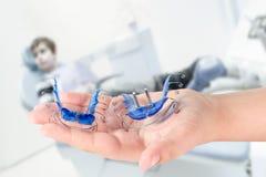 Orthodontic treatment closeup Stock Photo