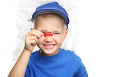 Orthodontics, μικρό παιδί με τα στηρίγματα στοκ φωτογραφίες με δικαίωμα ελεύθερης χρήσης