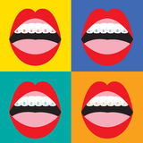Orthodontics расчалок корректирующие на красочной предпосылке Стоковая Фотография RF