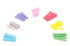 Orthodontics elastomeric rings stock images