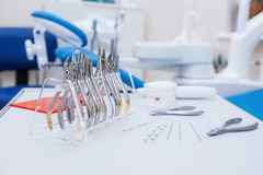 Orthodontist Dental set of clamps and pliers and other tools on the working table surface. Close up Orthodontist Dental set of clamps and pliers and other tools Stock Image