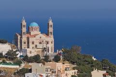 Orthodox Anastaseos church and panoramic view to Ermopoli, Syros, Greece Stock Photo