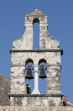 Orthodox bell tower in Corfu stock photo