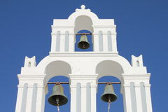 Orthodox bell tower in Santorini Stock Image