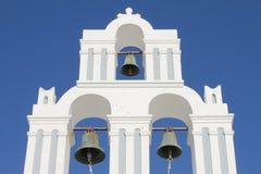 Orthodox bell tower in Santorini stock image