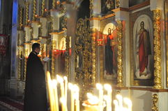 Orthodox Bishop leads the worship service in the Belarusian Church. Royalty Free Stock Photography