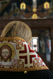 Orthodox bishop is praying in front of altar Stock Images