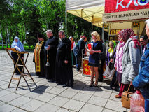 The Orthodox book fair in the Gomel region of the Republic of Belarus. Royalty Free Stock Photos