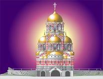Orthodox castle. Vector illustration of orthodox castle in mystical lillumination vector illustration