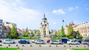 Orthodox Catehdral in Avram Iancu Square in Cluj Napoca stock footage