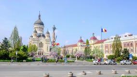 Orthodox Catehdral in Avram Iancu Square in Cluj Napoca stock video