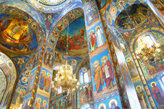 Orthodox cathedral. Interior of the Church of the Savior on Spilled Blood in St. Petersburg, Russia stock illustration